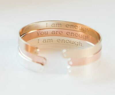 I Am Enough Bracelet, Engraved Secret Message Bracelet, I am Enough