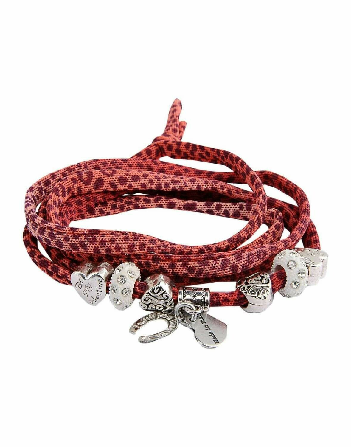 Red Leopard Print Friendship Bracelet with Charms