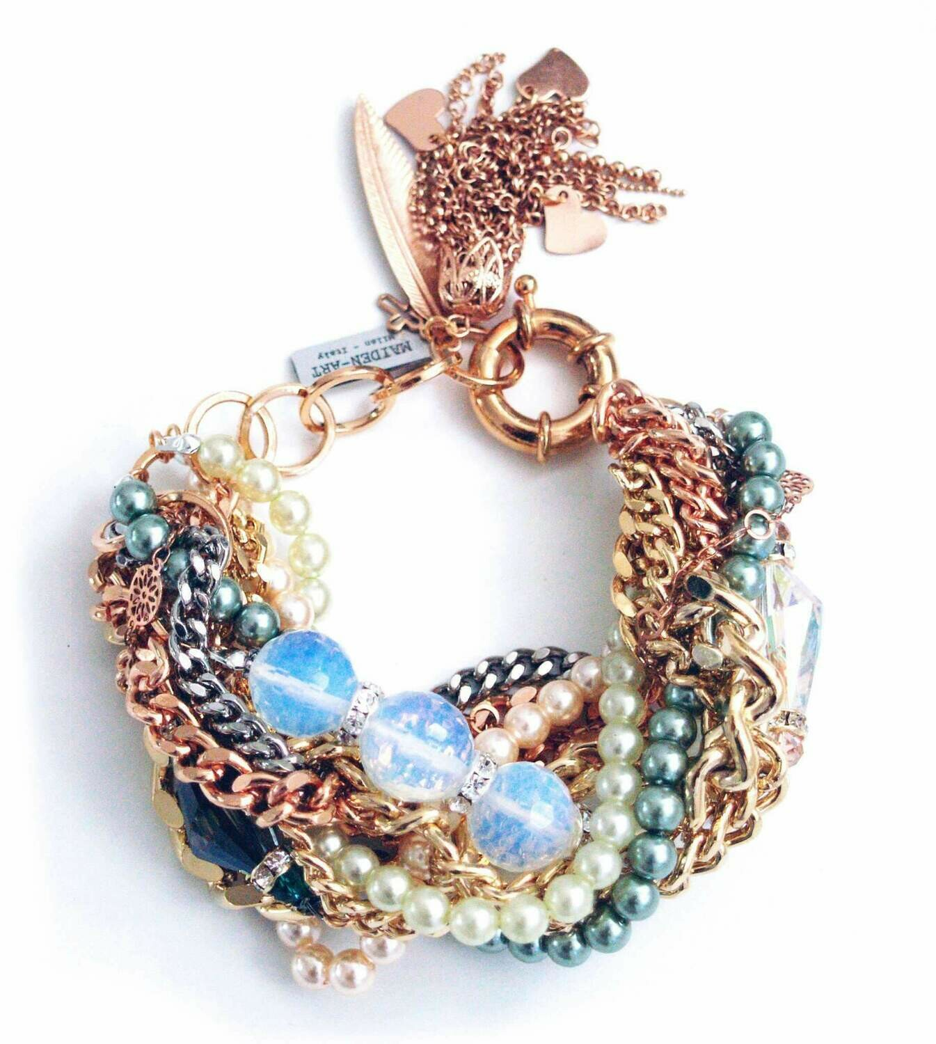 Statement Bracelet with Opal Stones and Charms