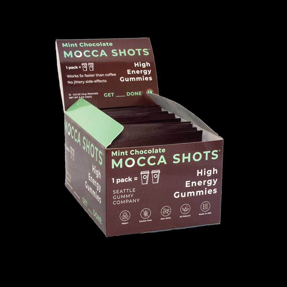 Mocca Shots Mint Chocolate Caffeine Gummy 12-pack 12x2 shots