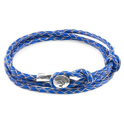Royal Blue Dundee Silver & Leather Bracelet