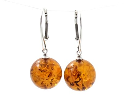 Round Baltic Amber Earrings With Sterling Silver