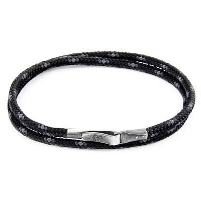 Black Liverpool Silver & Rope Bracelet