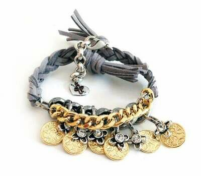 Friendship wraparound bracelets with Swarovski crystals and burnished