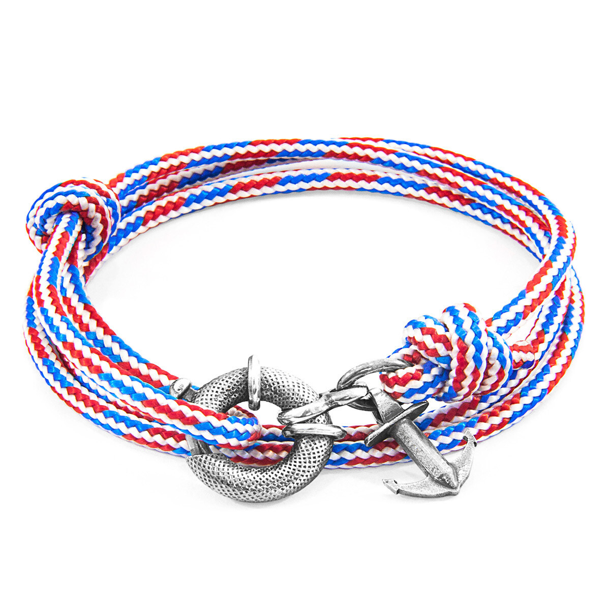 Red White & Blue Clyde Silver & Rope Bracelet