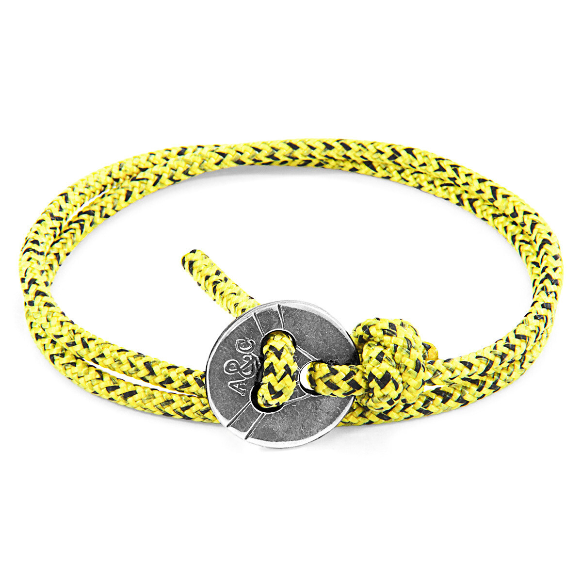 Yellow Noir Lerwick Silver & Rope Bracelet