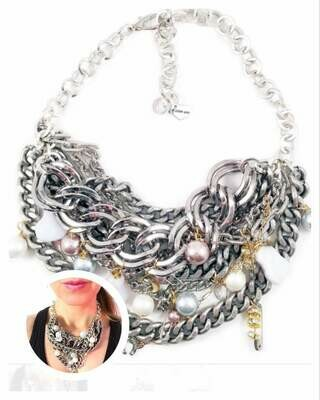 Silver statement necklace with calcedony, pearls and charms. Perfect