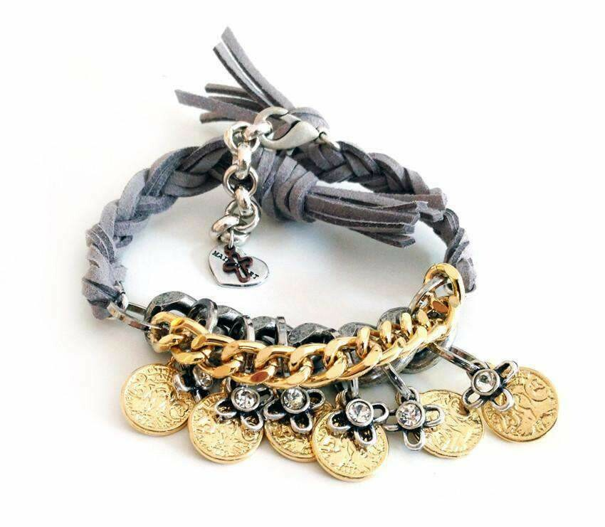 Friendship wraparound bracelets with Swarovski crystals and burnished