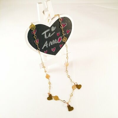 Triple Bronze Heart Charms Necklace with 18kt Gold Plated Flower