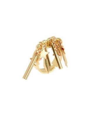 Gold plated brass ring with studs