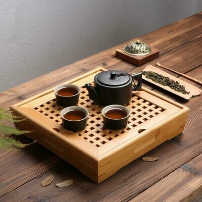 Ningya bamboo tea tray square size tea table