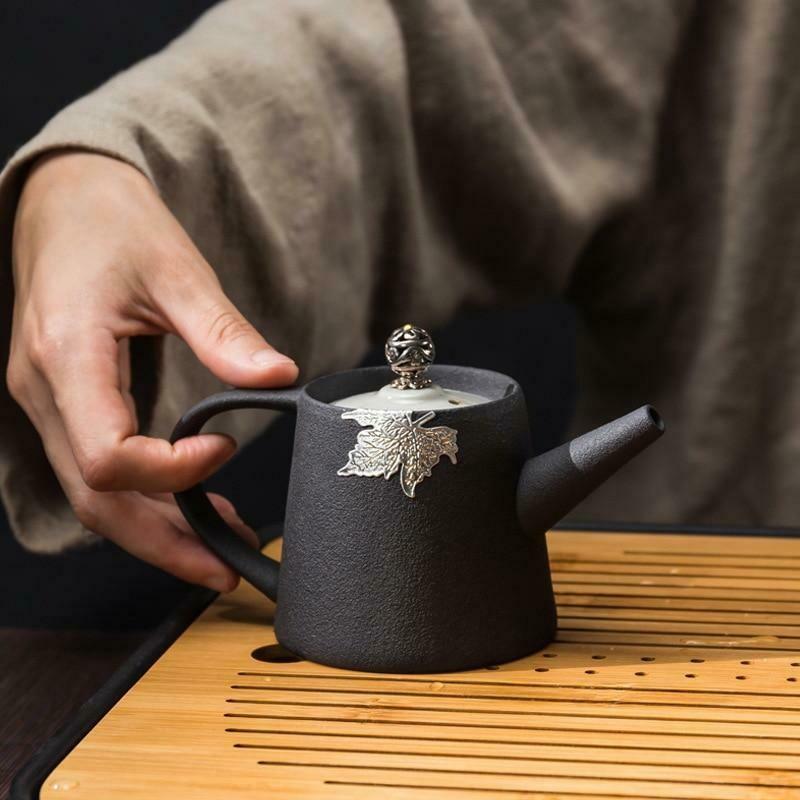 Black pottery teapot stoneware kung fu tea set (Black)