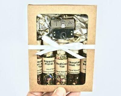 Herbal Tea Sampler Gift Set, 5 Mini Bottles