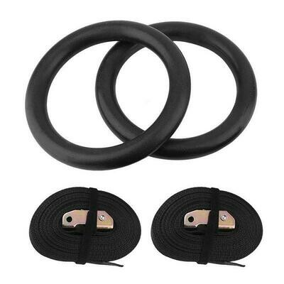 ABS Crossfit gymnastics fitness rings with strap loops (Black)