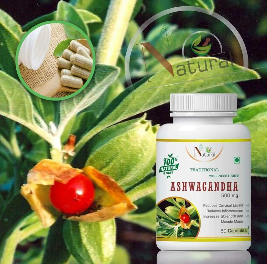 Natural Ashwagandha Herbal Capsules For Strength & Immune Booster 100%