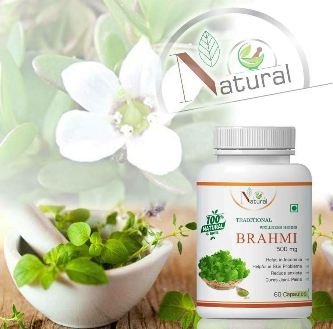 Natural Brahmi Herbal Capsules For Reduce Stress & Boost Memory 100%