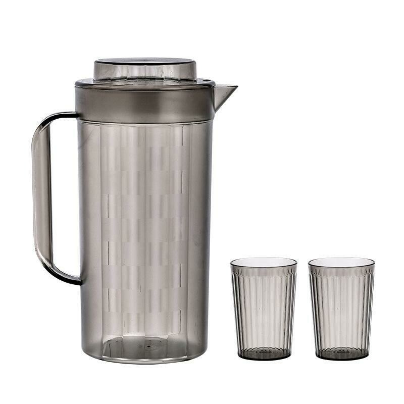 Plastic Cold Water Bottle Cold Water Cup Set (Black)