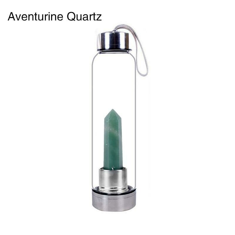 Natural Quartz Gemstone Glass Water Bottle