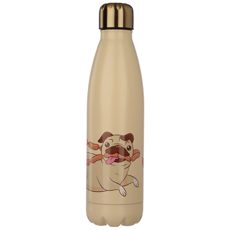 Mopps Pug Stainless Steel Insulated Drinks Bottle