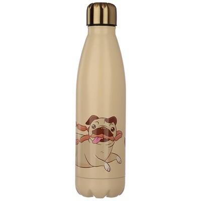 Mopps Pug Stainless Steel Insulated Drinks Bottle
