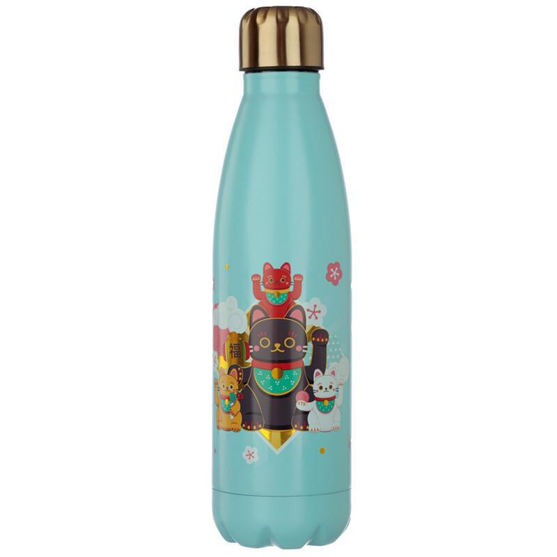 Lucky Cat Maneki Neko Stainless Steel Insulated Drinks Bottle