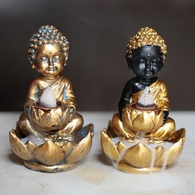 Small Backflow Incense Burner - Lotus Buddha