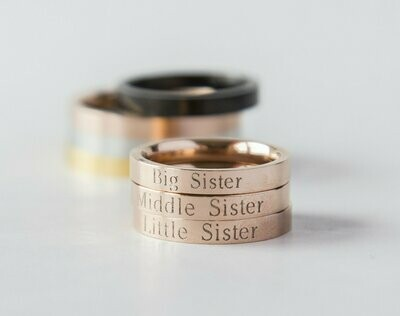 Lil Sis Big Sis Ring Personalized Sister Gift, Rose Gold Ring