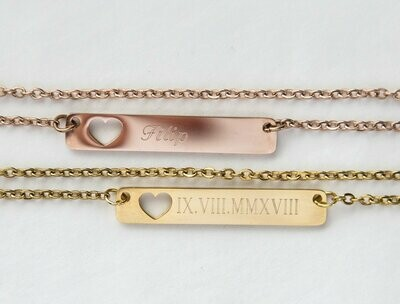 Personalized Name Bar Necklace Gift, Mom to Be Baby Name Love Heart