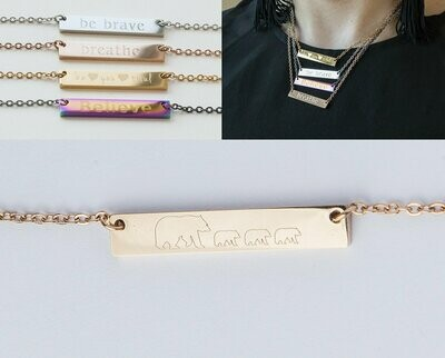 Mama Bear Bar Necklace Personalized Gift Mom Baby