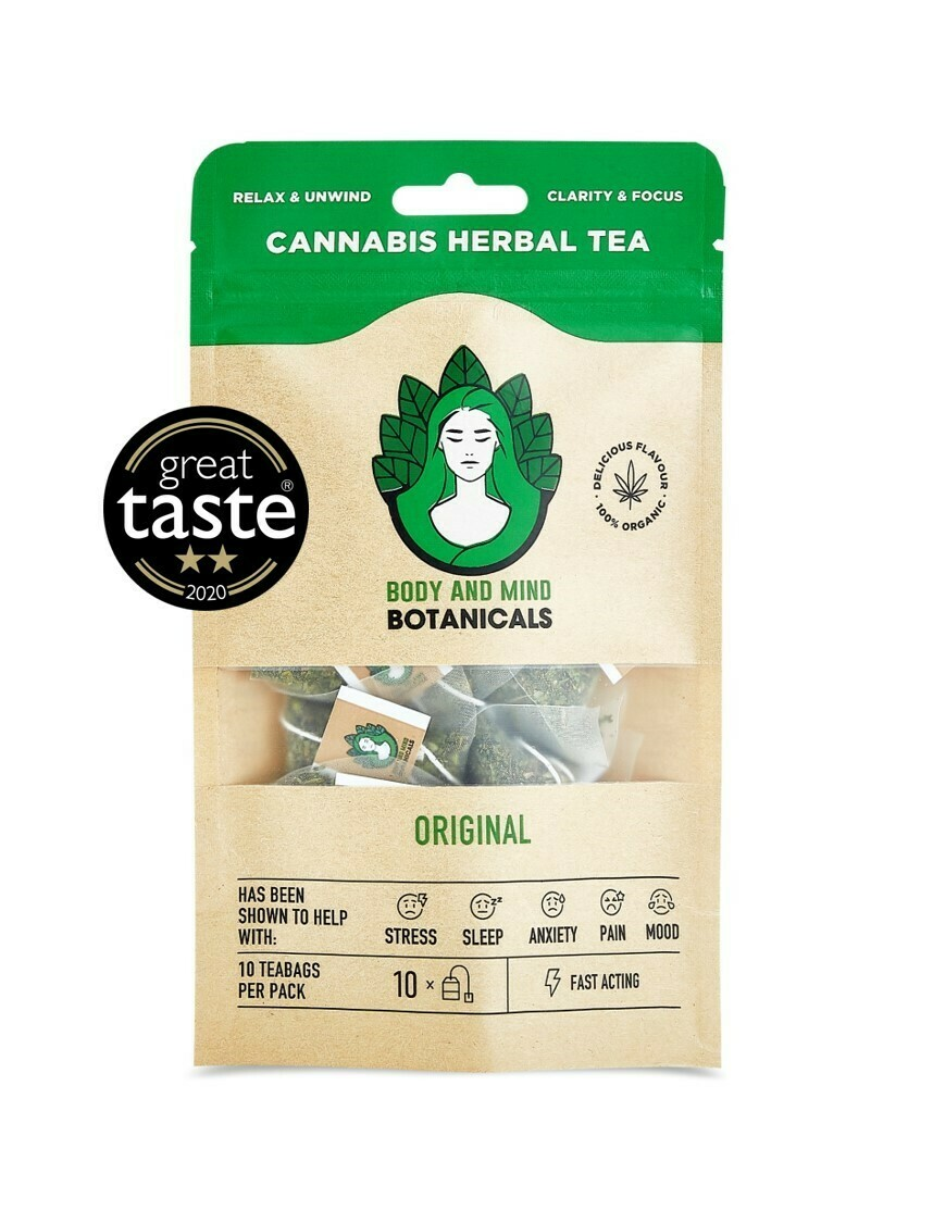 Body and Mind Botanicals 400mg CBD Cannabis Herbal Tea Bags -  Peppermint