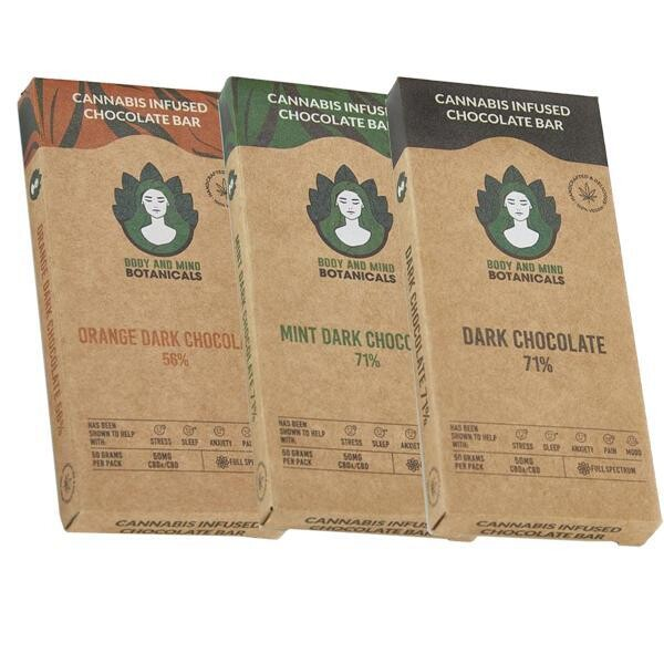 Body and Mind Botanicals 50mg CBD Cannabis Orange Dark Chocolate: