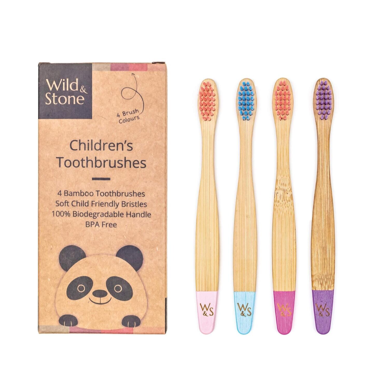 Children's Bamboo Toothbrush - 4 Pack - Candy Colour