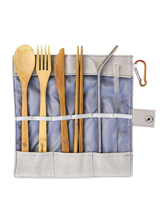 Reusable Bamboo Picnic Cutlery Set - 8 Piece
