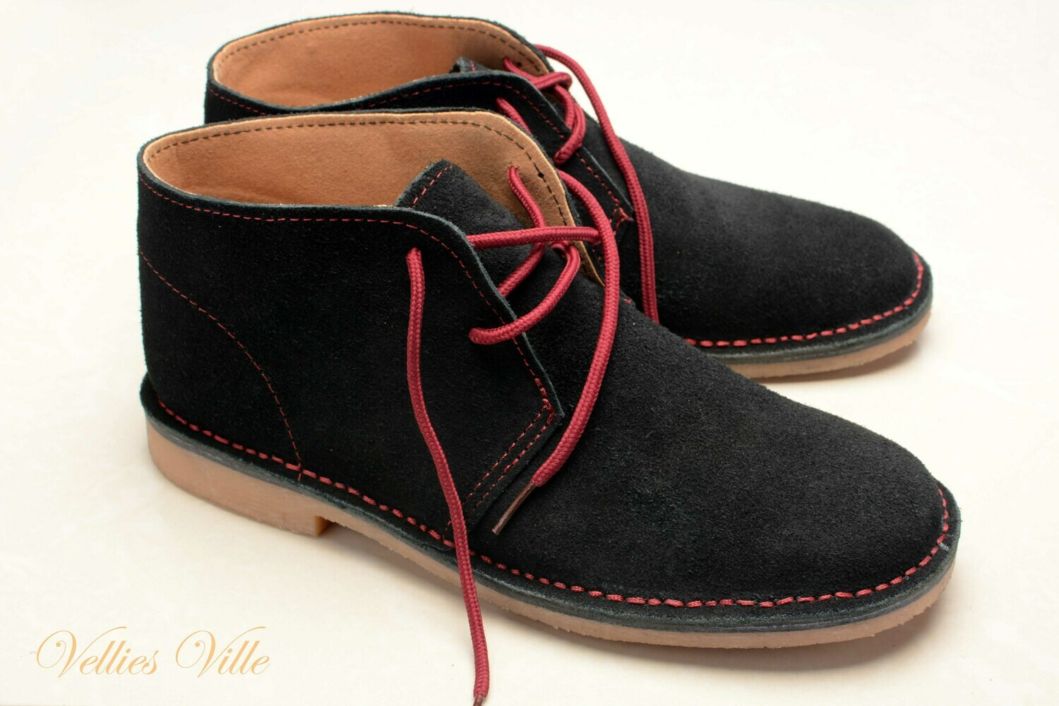 Farmer's Vellies (Black & Red stitching )