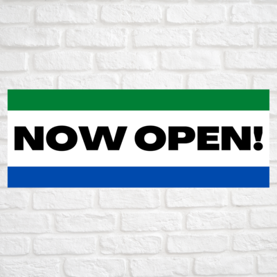 Now Open! Green/Blue