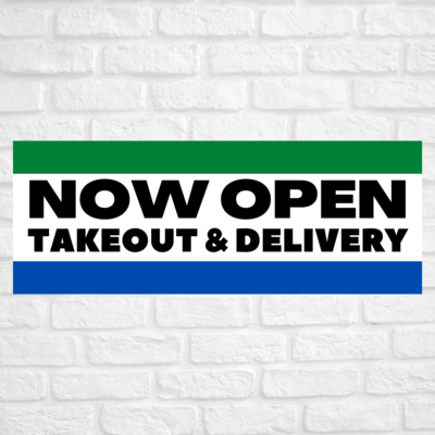 Now Open Takeout & Delivery Green/Blue