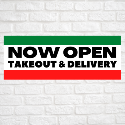 Now Open Takeout & Delivery Green/Red