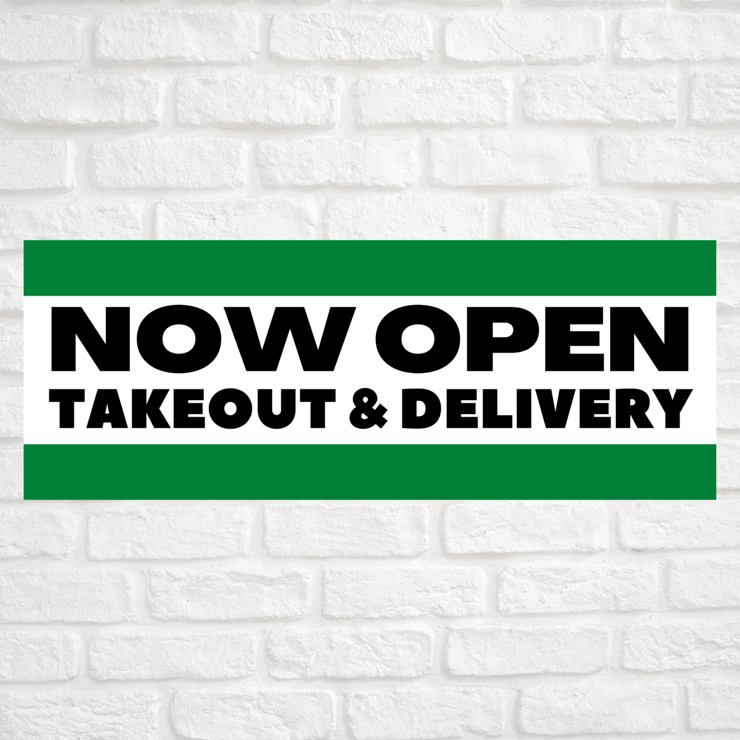 Now Open Takeout & Delivery Green/Green