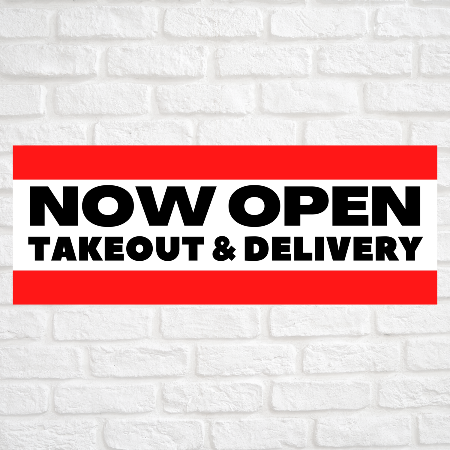 Now Open Takeout & Delivery Red/Red