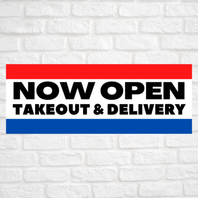 Now Open Takeout & Delivery Red/Blue