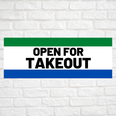 Open For Takeout Green/Blue