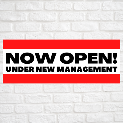 Now Open! Under New Management Red/Red