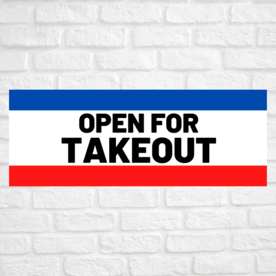 Open For Takeout Blue/Red