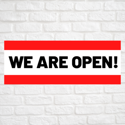 We Are Open! Red/Red