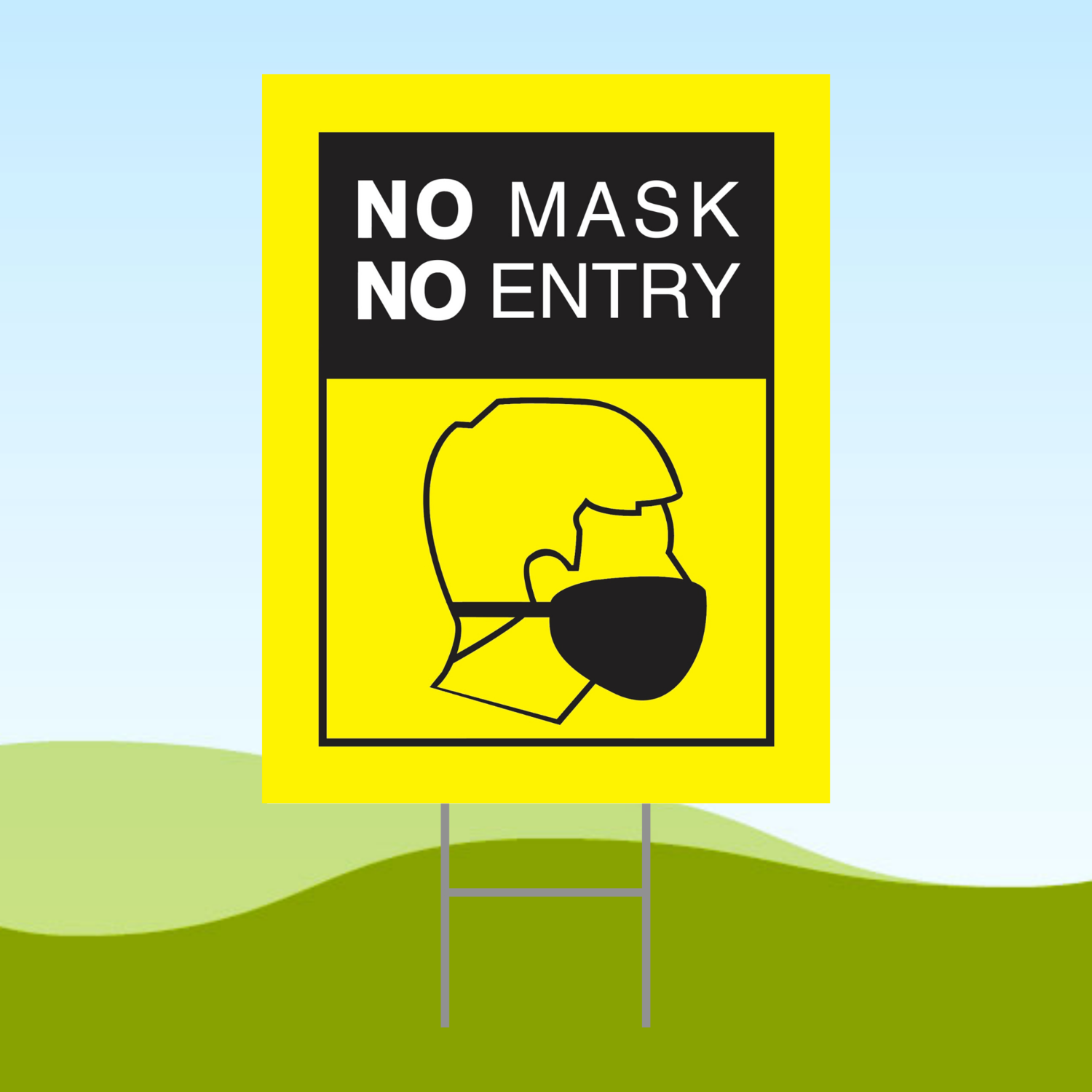No Mask No Entry Yellow1 18x24 Yard Sign WITH STAKE Corrugated Plastic Bandit