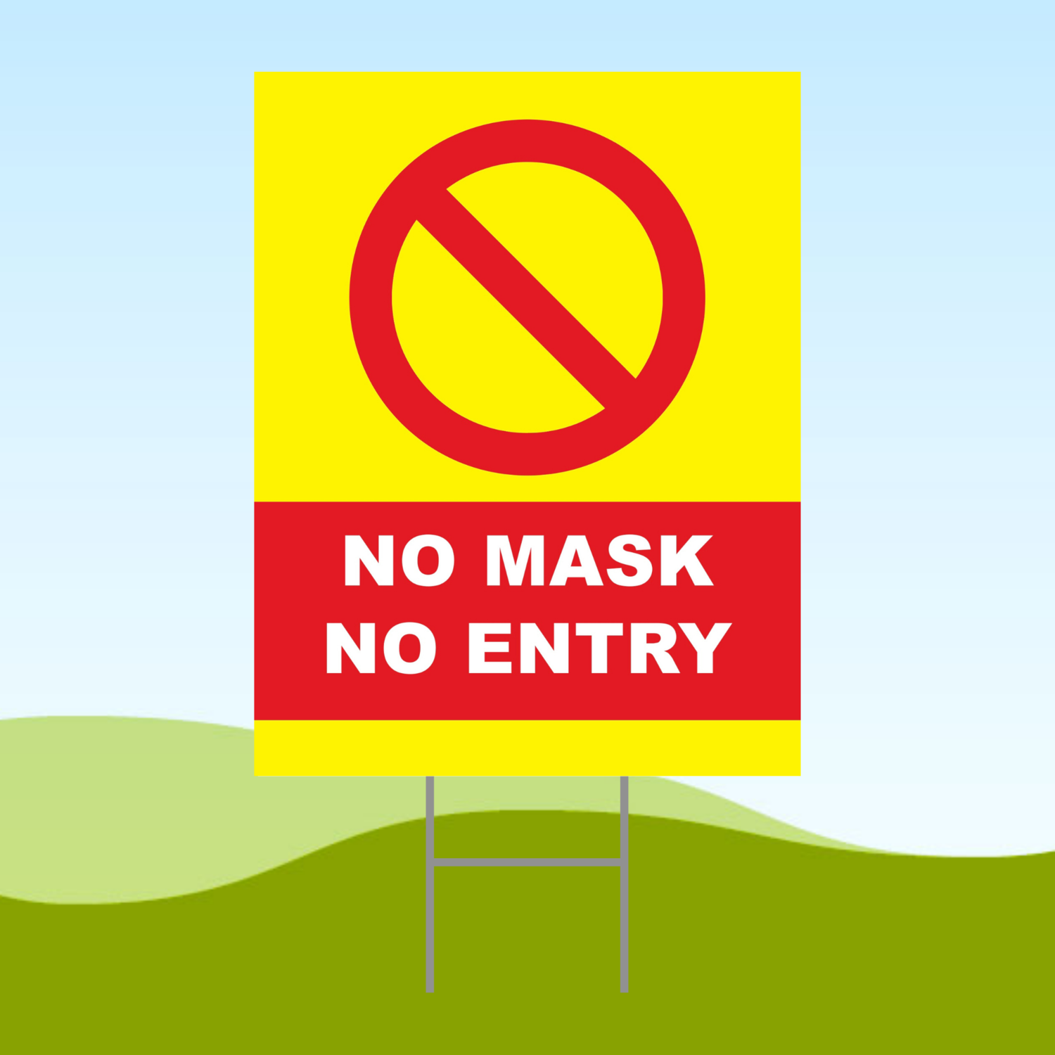 No Mask No Entry Yellow3 18x24 Yard Sign WITH STAKE Corrugated Plastic Bandit