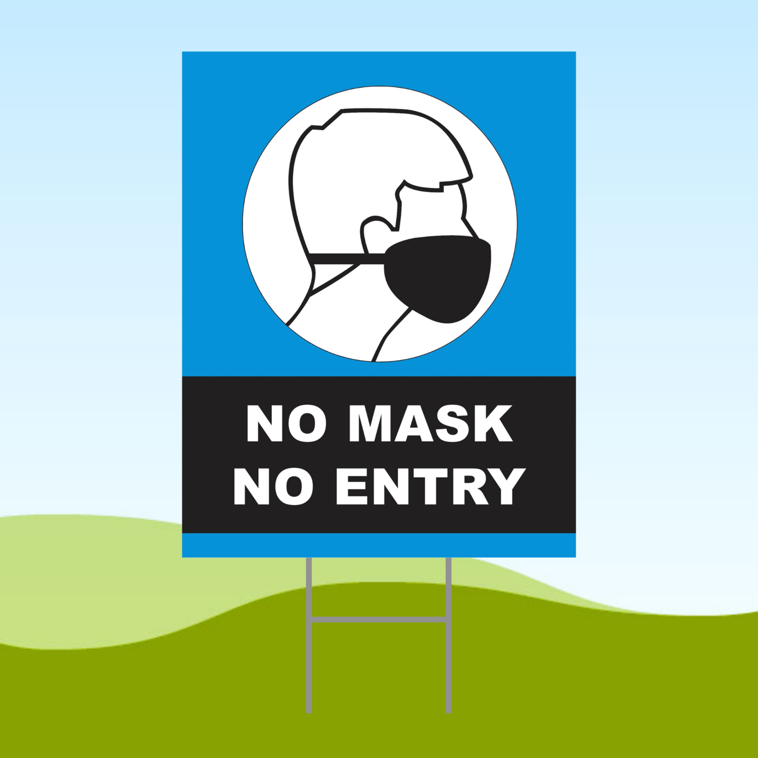 No Mask No Entry Blue 18x24 Yard Sign WITH STAKE Corrugated Plastic Bandit