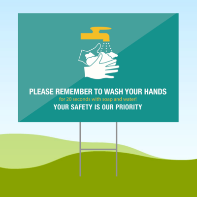 Wash Your Hands 18x24 Yard Sign WITH STAKE Corrugated Plastic Bandit