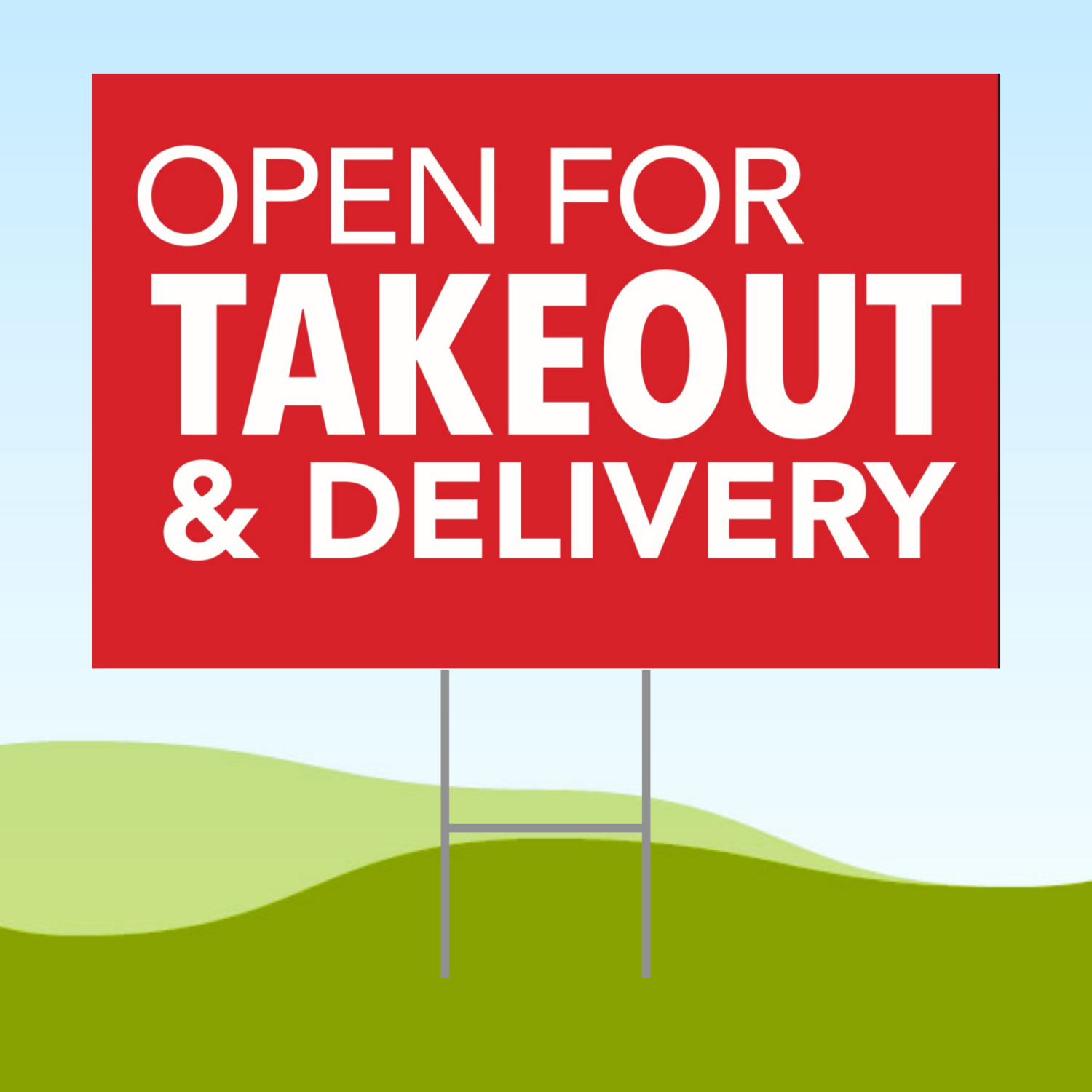 Open For Takeout & Delivery 18x24 Yard Sign WITH STAKE Corrugated Plastic Bandit