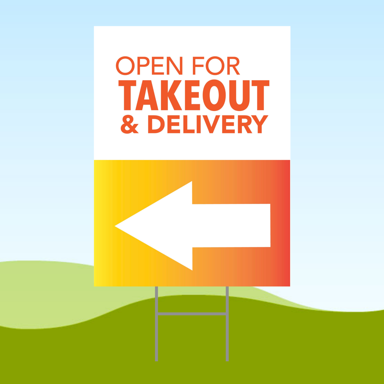 Open For Takeout Arrow LEFT 18x24 Yard Sign WITH STAKE Corrugated Plastic Bandit